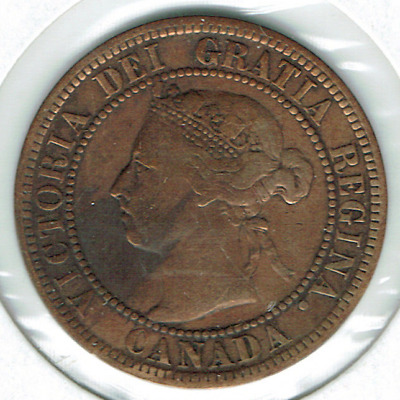 1898-H Canadian Circulated One Large Cent Victoria Coin!