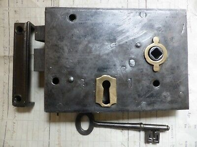 "Antique Victorian 7 1/4"" x 4"" Iron & Brass Door Rim Lock Key & Keep Night latch"
