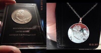 Rare 1995 Franklin Mint Jerry Garcia Silver Coin Medal & Necklace Grateful Dead