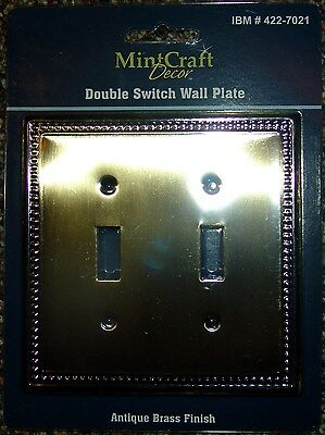 Antique Brass Duplex Electrical Switch / Plug Cover Plate