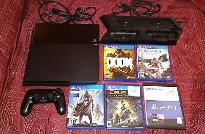 Sony PlayStation 4 500GB PS4 BUNDLE with 5 games and 1 controller charging