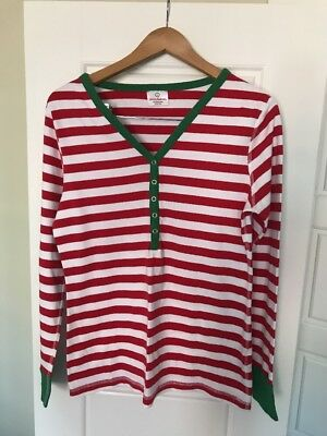 Hanna Andersson Adult Womens Ladies Christmas Pajama Top Henley Size L Euc