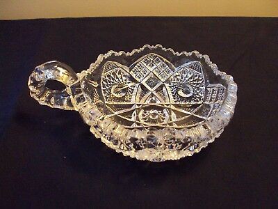 VTG American Brilliant Cut Glass Nut Bowl with Handle ABP Heavy Crystal Candy