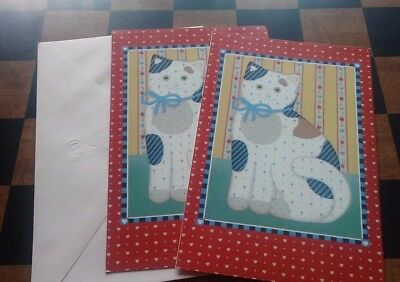Forget Me Not American Greetings Three Blank Inside Calico Cat Greeting Cards