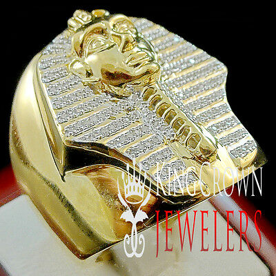 Mens Genuine Diamond King Tut Egyptian Pharaoh Pinky Ring Band 10K Gold Finish