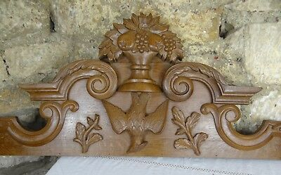 """50""""  Antique French Hand Carved Pediment Wedding Symbol - a Dove"""