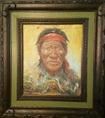 Original Oil On Board Signed Casper Native American Portrait Vintage