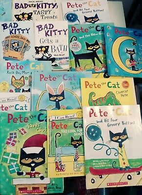 Lot of 14 Bad Kitty and Pete the Cat Picture and Chapter Books BOX1