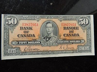 1937 BANK OF CANADA $ 50 FIFTY DOLLARS GORDON TOWERS BC-26b B/H3827051