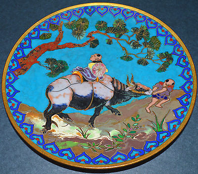 "SUPERB! Antique 19th C Chinese Japanese Cloisonne OXEN Art Plate 6"" Emperor ox"