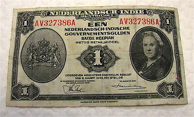 NETHERLANDS INDIES INDONESIA 1 Gulden Currency Note--Circa 1943--free ship