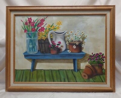 Very Artistic R.A Vintage Planters Pitcher & Floral Vase Still Life Oil Painting