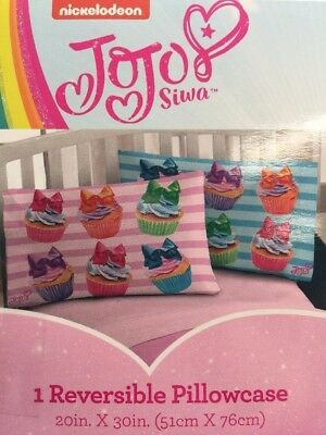 Jojo Siwa Reversible Cupcakes Pillowcase BNWT HTF🌈🦄🎀