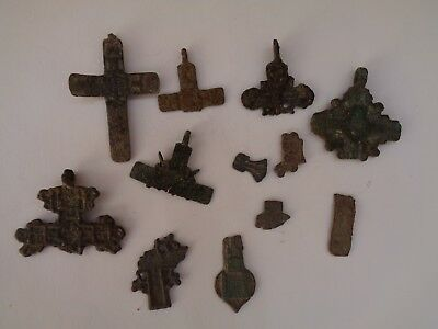 12 fragments of ancient orthodox bronze crosses 1600-1900 AD original 20