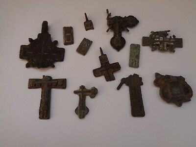 12 fragments of ancient orthodox bronze crosses 1600-1900 AD original 22