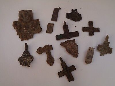 12 fragments of ancient orthodox bronze crosses 1600-1900 AD original 23