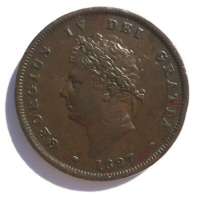1827 Penny, VF+, Extremely Rare Key Date, George IV Copper 1827 1d