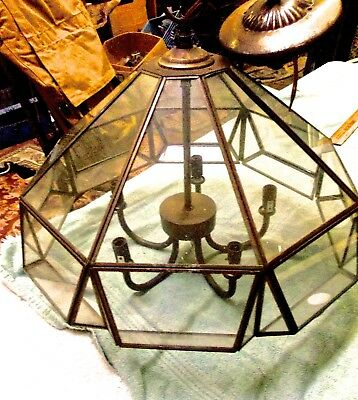 1920s Brass and Glass Closed Chandelier for Porch or Entrance Craftsman