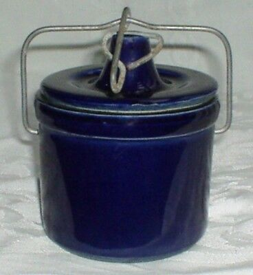 COBALT BLUE STONEWARE CHEESE CROCK w Wire Bail