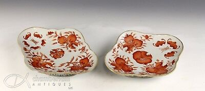 Nice Pair Of Antique Chinese Porcelain Footed Dishes Plates W Pomegranate + Bats