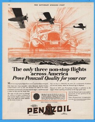 1929 Pennzoil Oil City PA 3 Non Stop Flights Across America Airplane Car Art Ad