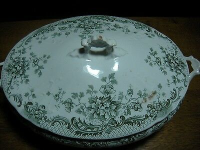 Antique  Porcelain Covered Vegetable Bowl / Soup Tureen / England Christmas