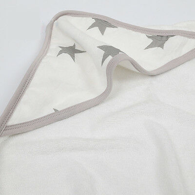 Bamboo Swaddle Hooded Baby Bath Towels - White with Grey Stars