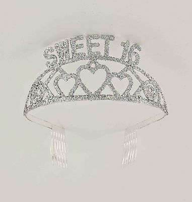 SWEET 16 Tiara Birthday Plastic Glitter Gem Tiara FREE U.S. First Class SHIP !