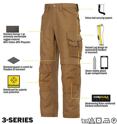 SNICKERS 3314 pantalons toile Pantalons de travail Snickers Direct Marron