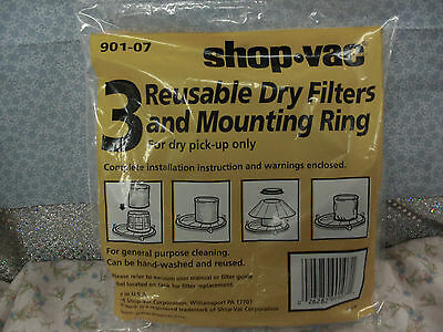 SHOP-VAC, 3 Reusable Disc Filters & Mounting Ring For Dry Pick Up, part# 901-07