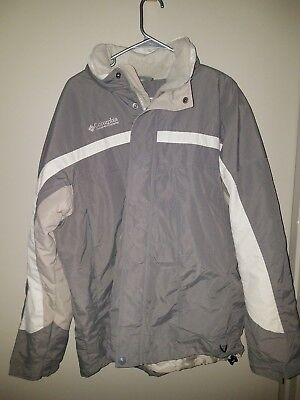 columbia mens winter jacket size L Gray and white tones fleece lined