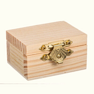 "Miniature Unfinished Pine Wood Box w/ Hinge and Latch 2 1/4"" X 1 5/8"""