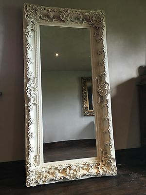 Large Antique White Cream Shabbychic French Leaner Dress Floor Wall Mirror 187cm