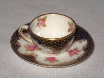 Crown Staffordshire Miniature Cup Saucer England Blue Gold Roses Fish Scale