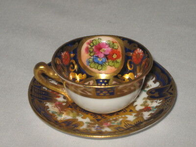 Crown Staffordshire Miniature Cup Saucer England Blue Gold Ornate Roses B