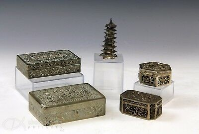 Lot Of Old Antique Chinese Asian Silver And Metalwork Boxes