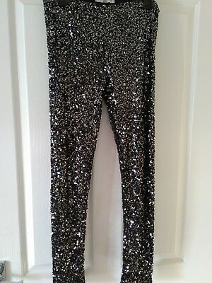 Girls M&s Sequin Christmas Party Leggings Age 13/14  Excellent Condition