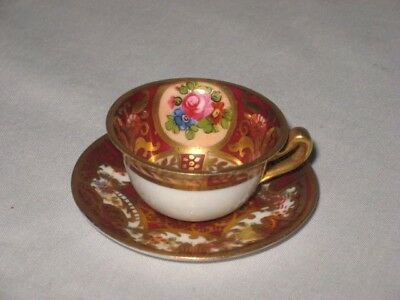Crown Staffordshire Miniature Cup Saucer England Burgundy Gold Ornate Roses Red