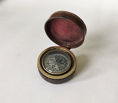 Antique Gimballed Pocket Compass Leather Cased Scientific Instrument
