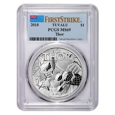 2018 1 oz Tuvalu Thor Marvel Series Silver PCGS MS 69 FS (Flag Label)
