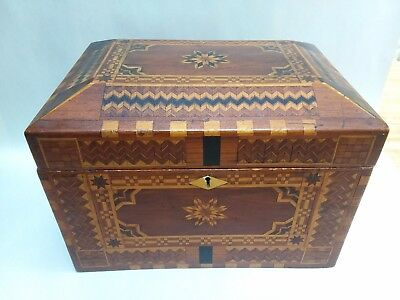 Exceptional Victorian Inlaid Wood Marquetry Desk Dresser Sewing Box Antique