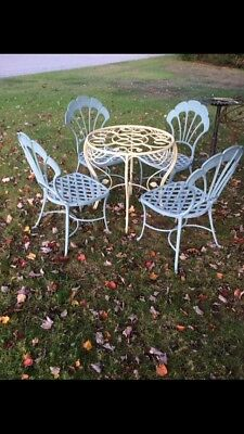 Mid Century Modern Brown & Jordan Chairs With Cast Iron table lawn furniture