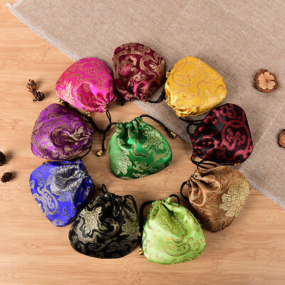 10PCS Chinese Handmade Mix Colors Silk Bag Coin Purse Gift Jewelry Bags Pouch FO