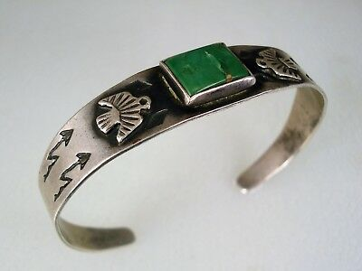 OLD Fred Harvey era STAMPED SILVER & SQUARE TURQUOISE THUNDERBIRD BRACELET
