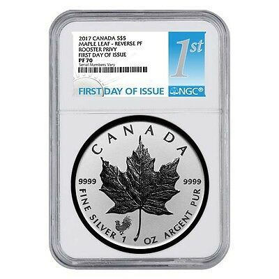 2017 1 oz Silver Canadian Maple Leaf Lunar Rooster Privy NGC PF 70 First Day of
