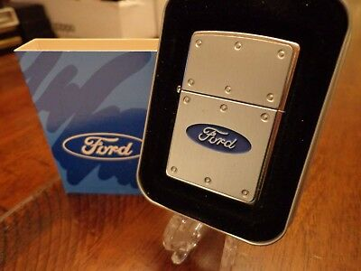 Ford Riveted Blue Oval Emblem Zippo Lighter Mint In Box 2003