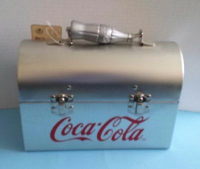 New Vintage Coca Cola Lunch Box Silvertone red Logo Bottle Handle with tags!
