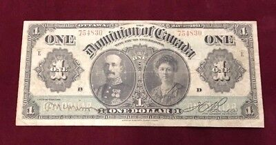 1911 $1 Dominion of Canada Banknote - Series E - Large Size - No Reserve