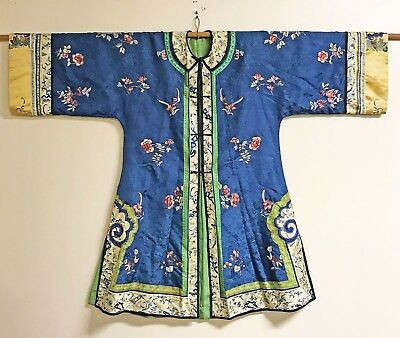 Old Chinese Silk Robe Jacket Textile With Flowers