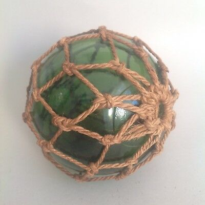 Vintage Hand Blown Green Glass Ball Buoy Fishing Float Net 5 Inches Nautical